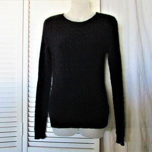 Aqua black cashmere cable knit sweater medium